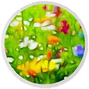 Flowers In The Garden Round Beach Towel