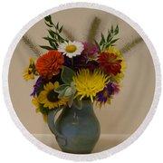 Flowers In Vase Round Beach Towel