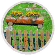 Flowers In Wooden Pot Round Beach Towel