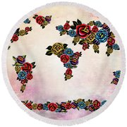 Flowers Map  Round Beach Towel