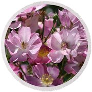 Flowers- Mass Roses Round Beach Towel