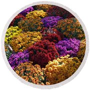Flowers Near The Grand Palais Off Of Champ Elysees In Paris France   Round Beach Towel