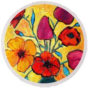 Flowers Of Love Round Beach Towel by Ana Maria Edulescu