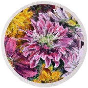 Flowers Of Love Round Beach Towel