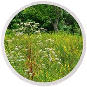 Flowers Of The Field Round Beach Towel