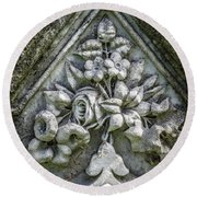 Flowers On A Grave Stone Round Beach Towel