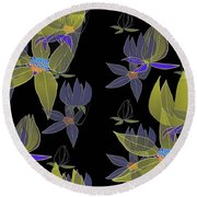 Flowers On Black Round Beach Towel