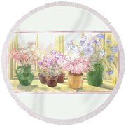 Flowers On The Windowsill Round Beach Towel by Julia Rowntree