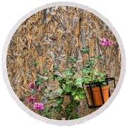 Flowers On Wall - Taromina Round Beach Towel