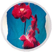 Flowers On Watercolor Paper Round Beach Towel