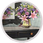 Flowers Table And Mirror In The Foyer Still Life Round Beach Towel