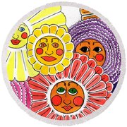 Flowers With Faces Round Beach Towel