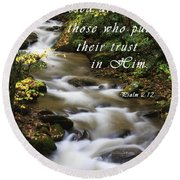 Flowing Creek With Scripture Round Beach Towel