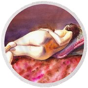 Flowing Lines Reclining Nude Round Beach Towel