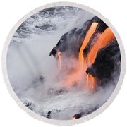Flowing Pahoehoe Lava Round Beach Towel