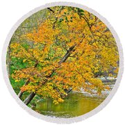 Flowing River Leaning Tree Round Beach Towel