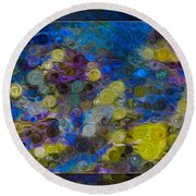 Flowing River Water And Rocks Colorful Abstract Painting Round Beach Towel