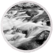Flowing St Vrain Creek Black And White Round Beach Towel