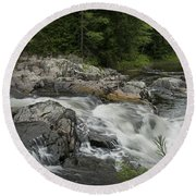 Flowing Stream With Waterfall In Vermont Round Beach Towel