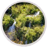 Flowing Water On Falling Lakes Of Plitvice Round Beach Towel