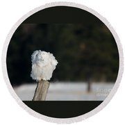 Fluffing Feathers Round Beach Towel