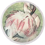 Fluffing Flamingo  Round Beach Towel