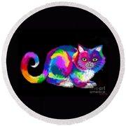 Fluffy Rainbow Cat 2 Round Beach Towel