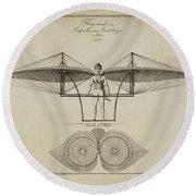 Flugmashine Patent 1807 Round Beach Towel