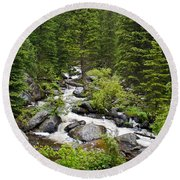 Fluid Motion - Crazy Woman Canyon - Crazy Woman Creek - Johnson County - Wyoming Round Beach Towel