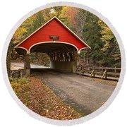 Flume Gorge Covered Bridge Fall Colors Round Beach Towel