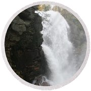 Flume Gorge Waterfall In Autumn Round Beach Towel