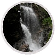 Flume Gorge Waterfall Nh Round Beach Towel