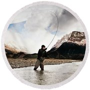 Fly Fishing At The Base Of Fitz Roy Round Beach Towel