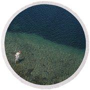 Fly Fishing In Alpine Lake Round Beach Towel