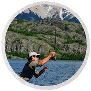 Fly Fishing In Patagonia Round Beach Towel