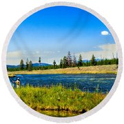 Fly Fishing In Yellowstone Round Beach Towel