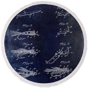 1922 Fly Fishing Lure Blue Round Beach Towel