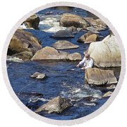 Fly Fishing On Mountain River Round Beach Towel