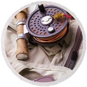 Fly Fishing Still Life Round Beach Towel