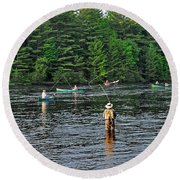 Fly Fishing West Penobscot River Maine Round Beach Towel