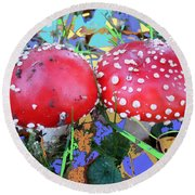 Fly-fungus With Blue Leaves By M.l.d.moerings 2009 Round Beach Towel