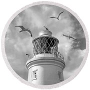 Fly Past - Seagulls Round Southwold Lighthouse In Black And White Round Beach Towel