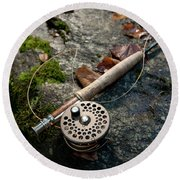 Fly Rod And Reel Detail On Mossy Wet Round Beach Towel