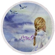 Fly With Us Round Beach Towel