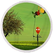 Flying A Balloon In A Parallel Universe Round Beach Towel