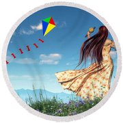 Flying A Kite Round Beach Towel