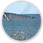 Flying A Kite On The East Coast Round Beach Towel