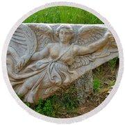Flying Angel In Ephesus-turkey Round Beach Towel