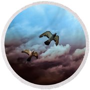 Flying Before The Storm Round Beach Towel