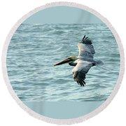Flying Brown Pelican  Round Beach Towel